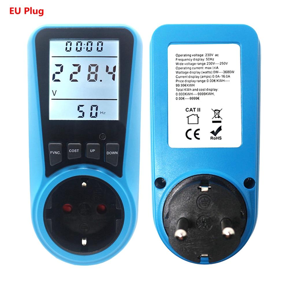Color : EU AC230V 50HZ TYUIOP Digital Voltage Wattmeter Power Consumption Watt Energy Meter KWh AC230VAC120V EU US UK Plug Electricity Analyzer Monitor Socket