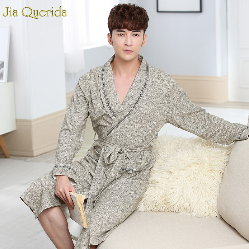 Men's Robe Luxury Men Home Clothing 100% Cotton Chinese Kimono Long Sleeves 100% Cotton House Coat Bathrobes Plus Size Bath Robe