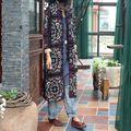 2015 осень оригинальный дизайн женщины этнических старинные отпечатано терри пальто кардиган женский ретро плед балахон плащ верхней одежды