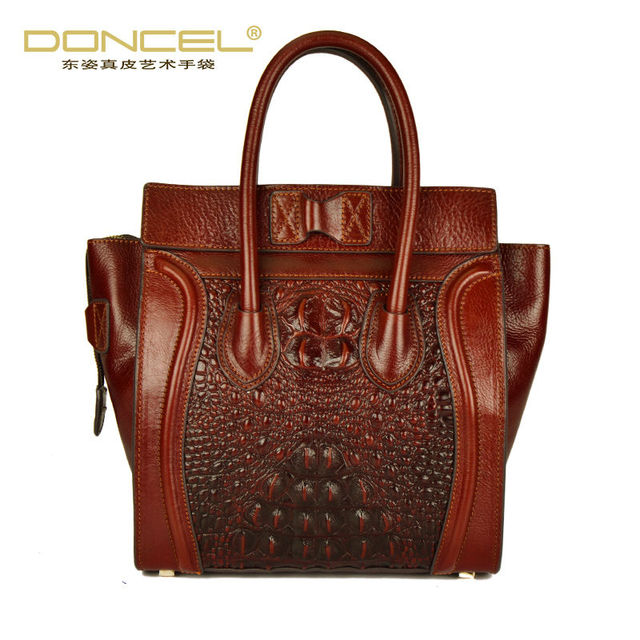 Designer handbags real cow genuine leather bags for women 2017 new smiley trapeze bag high quality alligator vintage totes bag