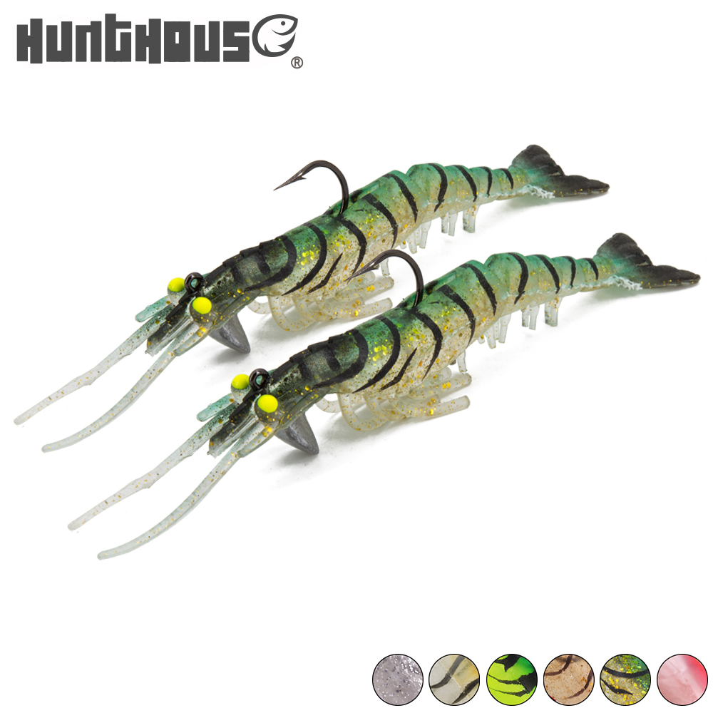 2018 HUNTHOUSE new style 13.5cm 13.7g soft lure shrimp lure crankbait fishing lure with lead jig head hook shad lure bass lifelike shrimp style soft pvc fishing baits w hook yellow size l 3 pack