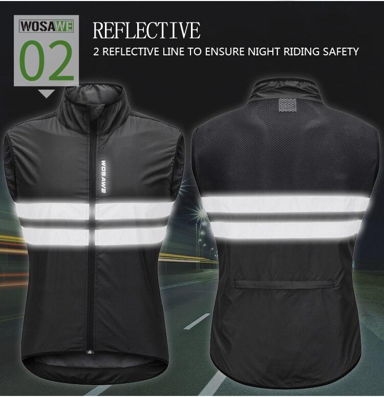 Cycling Cycling Jackets Wosawe Mtb Road Bike Reflective Jacket Light Weight Wateproof Cycling Jacket Windbreaker Jacket Safety Vest Bicycle Clothing