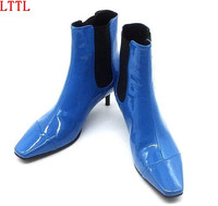 2017 Newest Patent Leather Short Boots Silver Blue High Heels High Quality Square Toe Runway Style