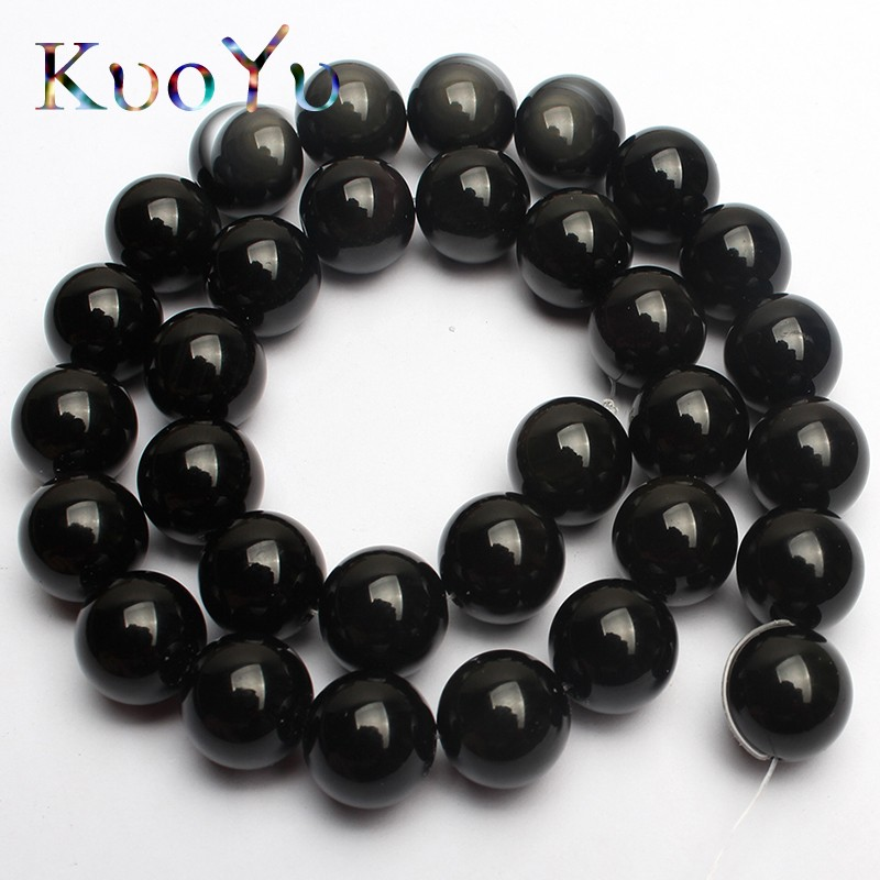 Natural Round Black Obsidian Beads Loose Gemstone Beads for Jewelry Making 15/""