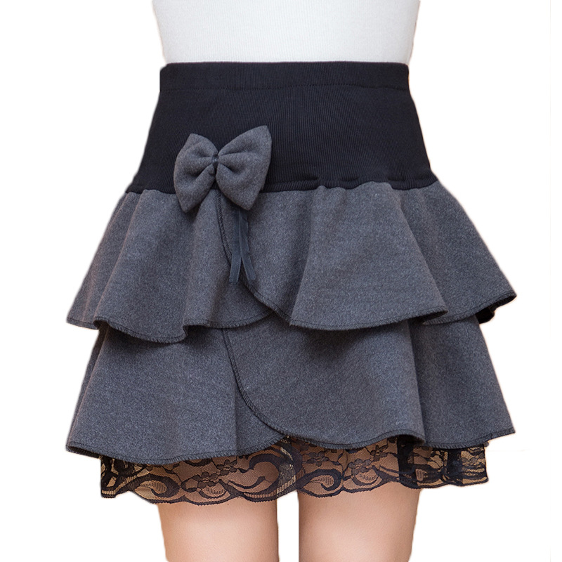 f3909a15 US $11.39 5% OFF|Winter Skirts Womens Fall Autumn Fashion Elastic Waist  Lace Hem Grey Black Falda Bow Flounced Ruffles Short Mini Wool Skirt-in  Skirts ...