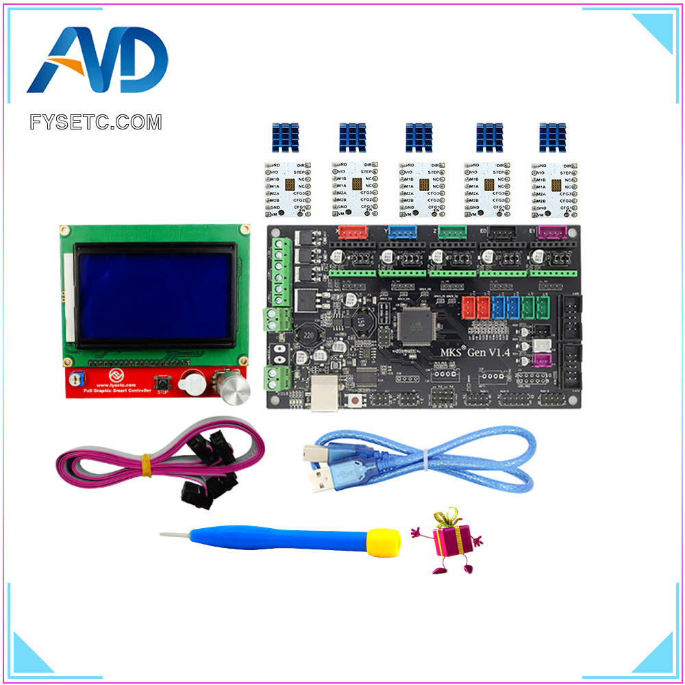 MKS Gen V1.4 3D printer kit with MKS Gen V1.4 RepRap Control Board + 12864 LCD + 5PCS TMC2100 /TMC2130/TMC2208 v1.2/A4988 Driver professional 3d printer kit mks gen 1 4 control board lcd 12864 6x limit switch 5x 4988 stepper driver high