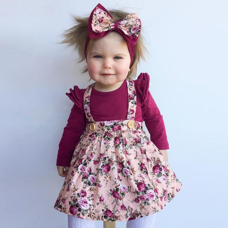 HTB1EVyGm26H8KJjSspmq6z2WXXay - 1-4y Summer Children Clothing Floral Girl Skirt Cotton Cute Toddler Suspender Skirts for Baby Girls Clothing