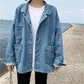 Mujeres de Gran Tamaño de la Chaqueta De Mezclilla Azul Multi Bolsillos Nuevo 2017 Damas de La Gota Del Hombro Abrigo Denim Loose Fit Envío Gratis