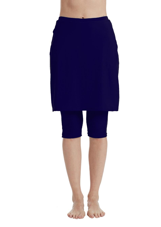 Bonverano(TM) Women' Polyamide Spandex Navy Swim Skirt With Leggings