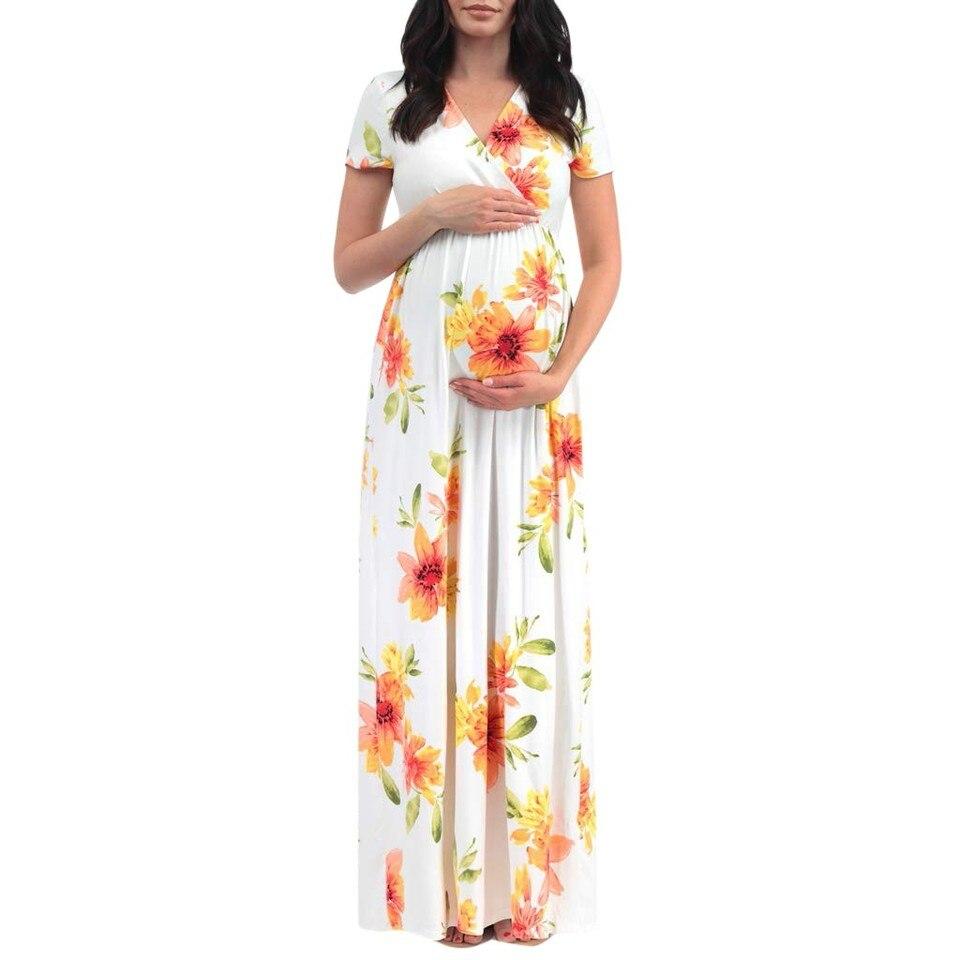 e3e267865095f MUQGEW maternity dresses Women's Maternity Short Sleeve V-neck Floral Print  Long Dress Pregnancy Clothes vestido