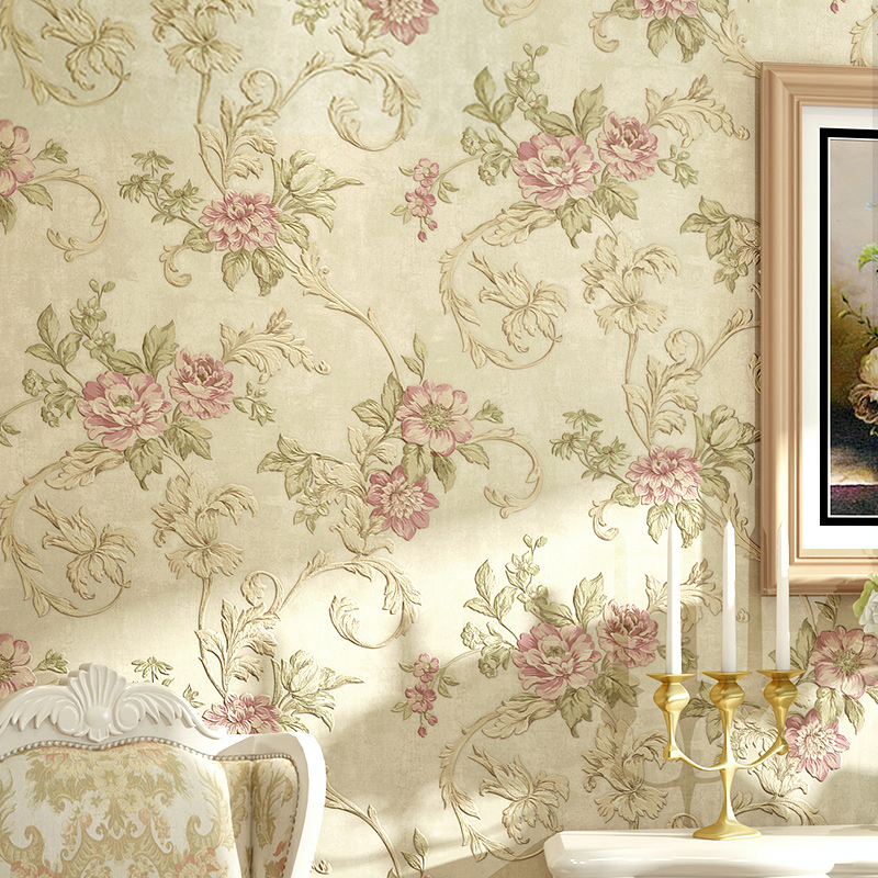 European Style Pastoral Flowers 3D Embossed Wallpaper Living Room Bedroom Wedding House Backdrop Wall Warm Home Decor Wallpapers beibehang stereo 3d nonwoven fabric wallpaper warm bedroom living room full of european style pastoral flowers wallpaper behang