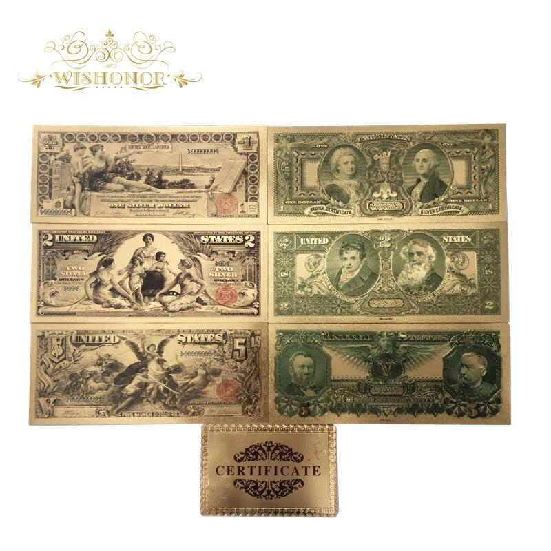 7 шт./лот, новые товары серии 1896, американские Золотые банкноты, 2, 5 долларов США, 24k золотые поддельные бумажные купюры для сбора
