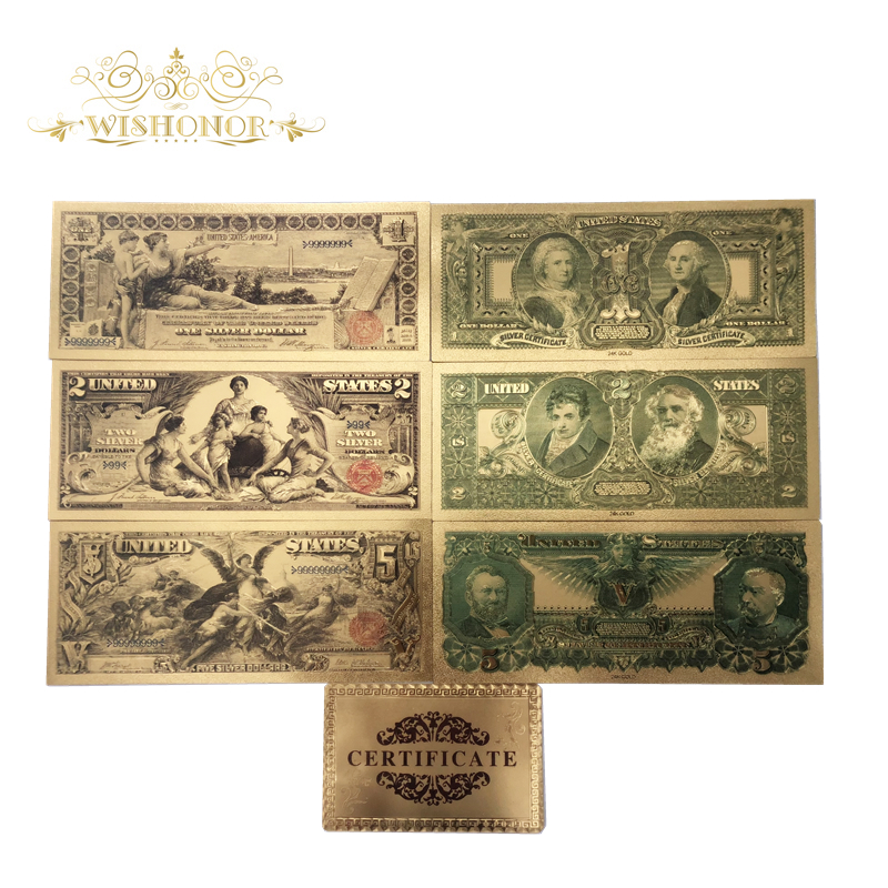 7pcs/lot New Products 1896 Series America Gold Banknotes USD 1 2 5 Dollar Banknotes in 24k Gold Fake Paper Money For Collection