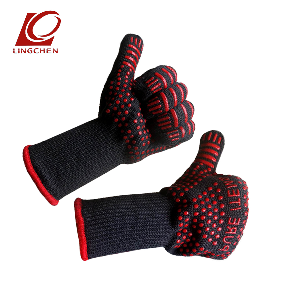 NEW 2018 Heat Resistant Oven Grill Gloves Safety Mitts Camping Kitchen Black Aramid Glove Anti-slip Silicone Polyester Lining цена