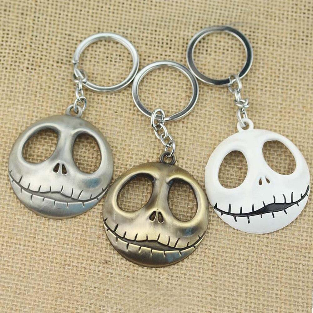 Movie Jewelry Skull Head Skellington Men Key Chain The Nightmare Before Christmas Pumpkin King Santa Jack Keychain