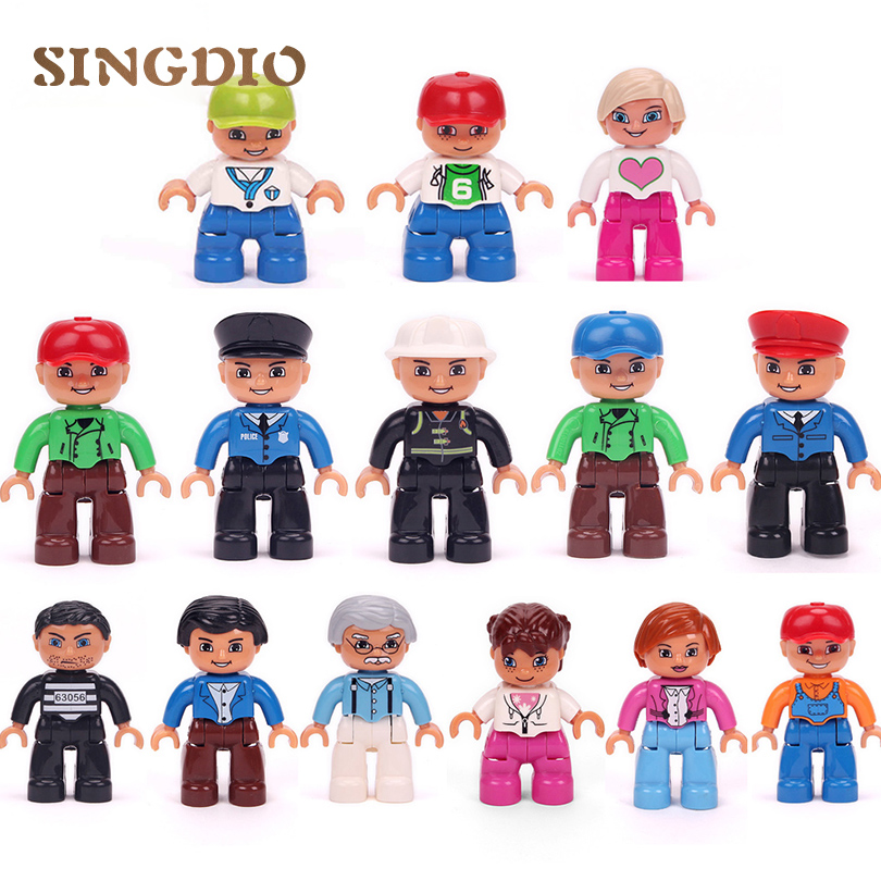 SINGDIO 14 Styles City Family Figure Building Blocks Enlighten educational Toys self-locking Bricks compatible with dduplo