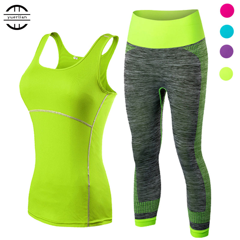 yuerlian Ladies Sports Running Cropped Top 3/4 Leggings Yoga Gym Trainning Set Workout pakaian kecergasan wanita yoga suit