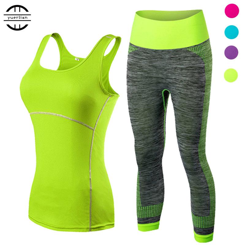Yuerlian Ladies Sports Running Cropped Top 3/4 Leggings Yoga Gym Trainning Set Clothing Workout Fitness Women Yoga Suit