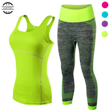 Womens Sports Running Cropped Top, 3/4 Leggings Gym Training Set