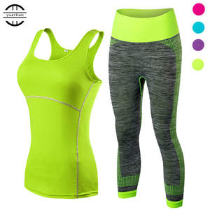 yuerlian Ladies Sports Running Cropped Top 34 Leggings Yoga Gym Trainning Set Clothing workout fitness women yoga suit