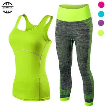 yuerlian Ladies Sports Running Cropped Top 3/4 Leggings Yoga Gym Trainning Set Clothing workout fitness women yoga suit yoga set page 4
