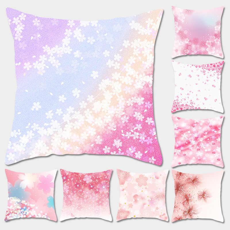 2019 45 Cm * 45 Cm Bantal Cover Romantis Pastel Bunga Sakura Sarung Bantal Bantal Case Rumah Dekoratif Bantal Cover