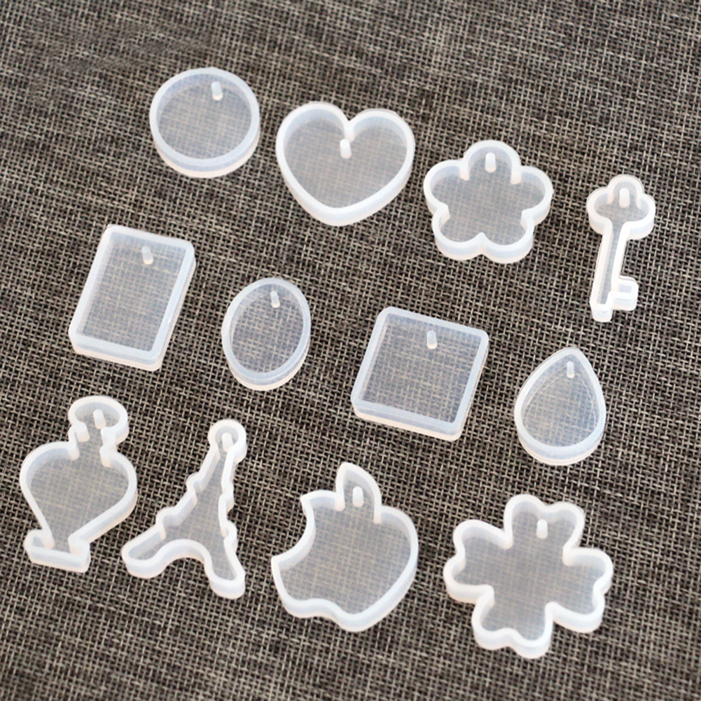 12pcs/set Holes Tower Grass Silicon Mould Resin Necklace Pendant Jewelry Making DIY Hand Craft Mold Tools