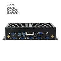 Двойной гигабитный Ethernet LAN Мини компьютер безвентиляторный Core i5 4200U Мини ПК Celeron 2955U 6 * COM поддержка AES NI PFSense Windows OS wifi