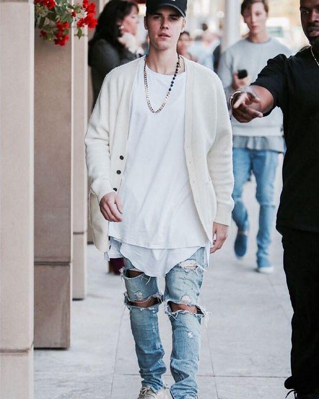 7f8fcba03ee mens jumpsuit designer RedLine rock star justin bieber kanye skinny ripped  denim designer jeans for men high quality fear of god-in Jeans from Men's  ...