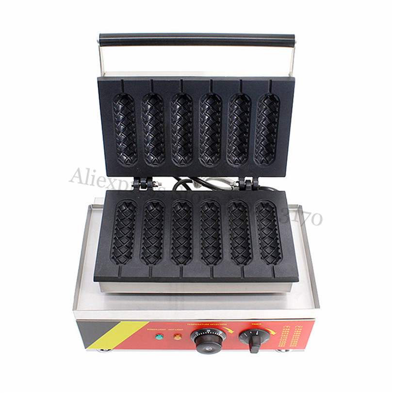 купить Nonstick Sausage Hot Dog Waffle Machine Stainless Steel Stick Lolly Waffle Baker Maker Fast Food Snack Amusement Park Brand New недорого