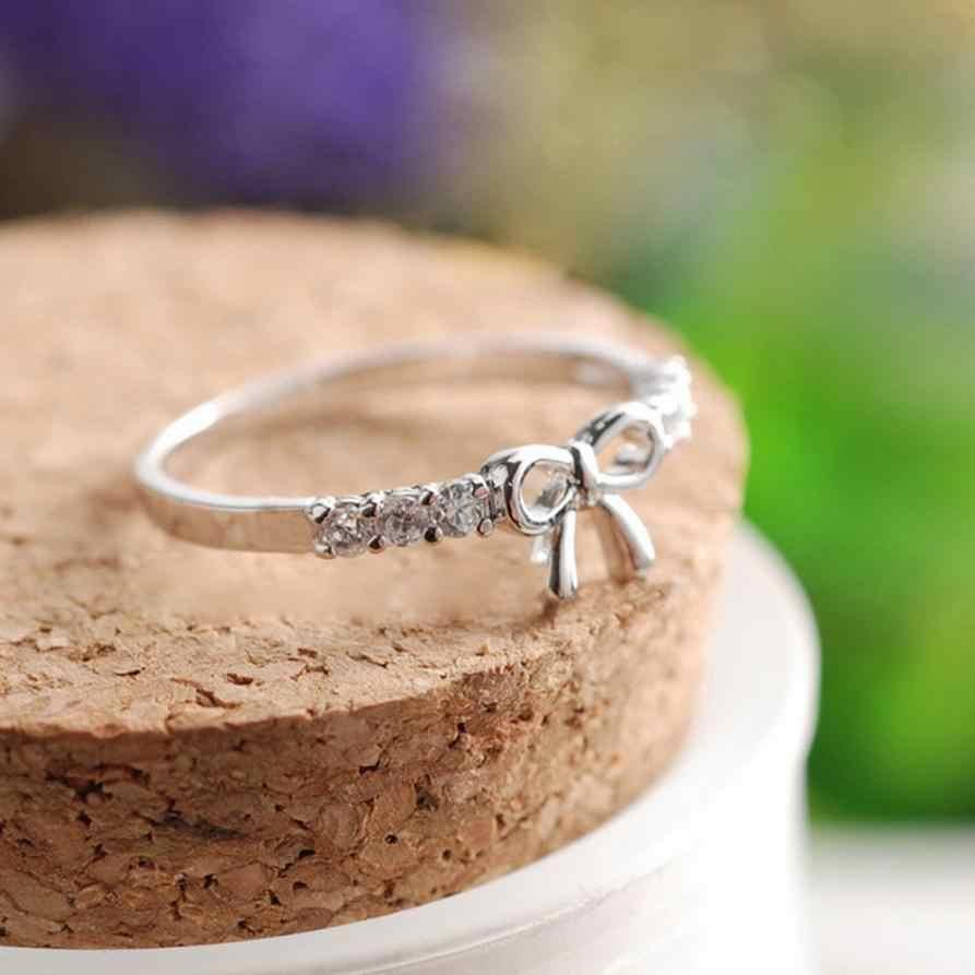 Новое поступление безупречные кольца ювелирные изделия простое Кристальное кольцо-бантик красивая бабочка форма украшения и аксессуары изысканные кольца