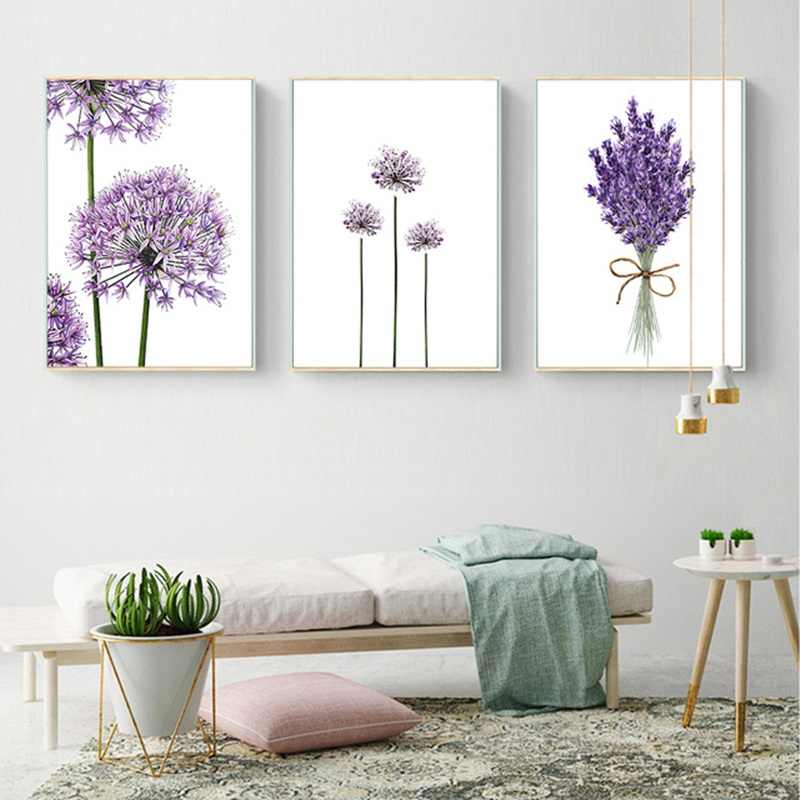 Scandinavian Lavender Flowers Poster Modern Canvas Painting Green Posters and Prints Home Decoration Bedroom Wall Art Pictures