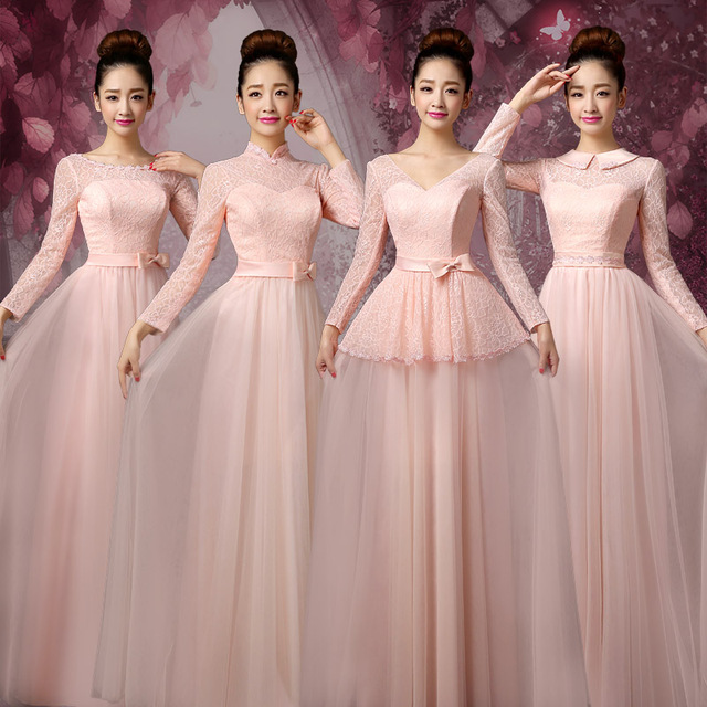 Aliexpress.com : Buy Pink Lace Bridesmaid Dress Long Sleeve Purple ...