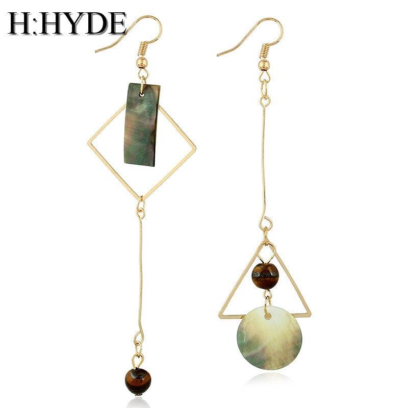 H:HYDE natural stone irregular geometry shape earrings gold color Heart Triangle design Long earrings for women dangle jewelry