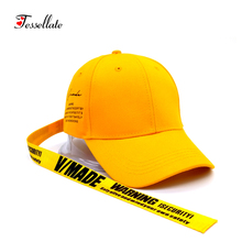 Tessellate Fashion Unisex style Long ribbon baseball cap casual hip hop cap women men summer sun hat sport hats casquette T-081(China)