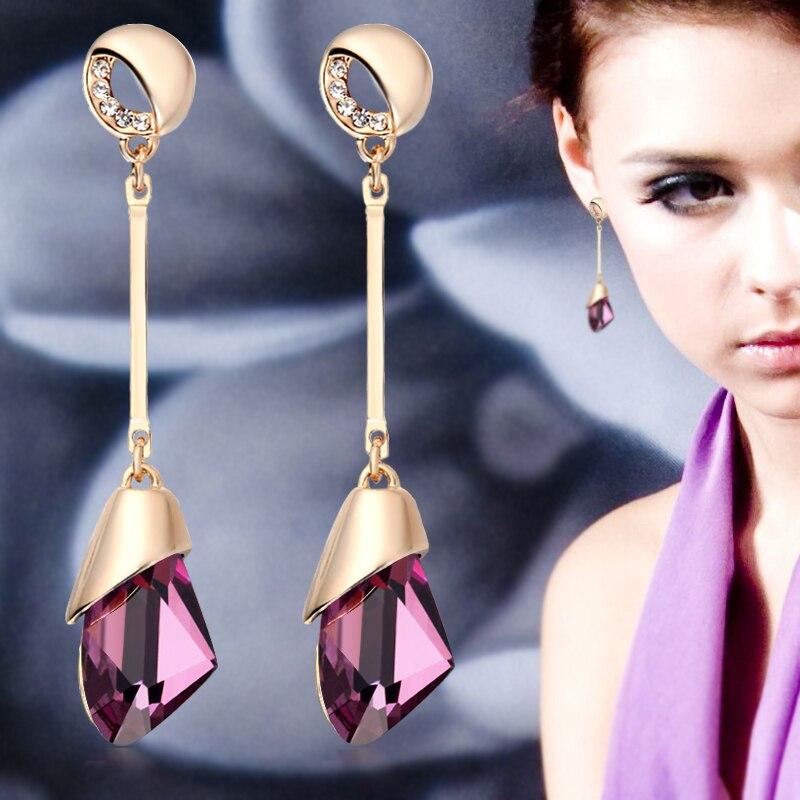 Купить на aliexpress Классические элегантные длинные серьги для женщин, модные геометрические хрустальные золотые цвета, серьги-капли воды, Brincos Bijoux, ювелирные ...