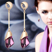Classic Elegant Long Earrings For Women Fashion Geometric Crystal Gold Color Water Drop Earring Brincos Bijoux