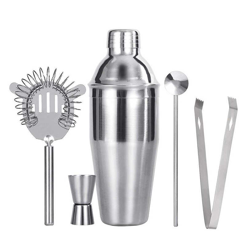 ELEVADORES Cocktail De Aço Inoxidável Conjunto 550 ml/750 ml Cocktail Shaker Conjunto com Bar Jigger Muddler Colher Ice Tong bartender Kit Set Bar