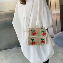 Cosmetic bag New 2019 cherry-style cross-body hand-knitted for womens holiday travel