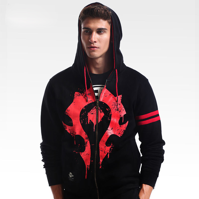WOW Horde Hoodie Big Alliance Logo Hooded Men Sweatshirt Black M-4xl Large Size Zipper Coats Game Cosplay Costumes Jackets Male