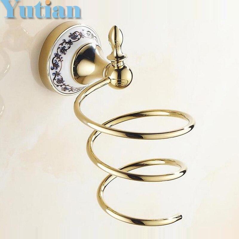 gold ceramic Bathroom Wall Shelf Wall-mounted Hair Dryer Rack Storage Hairdryer Support Holder Spiral Stand Holder YT-11899G