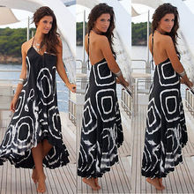 New Women Boho Chiffon Backless Sleeveless Print Halter Pleated Dress Asymmetrical Dresses 2018 Summer Fashion Casual