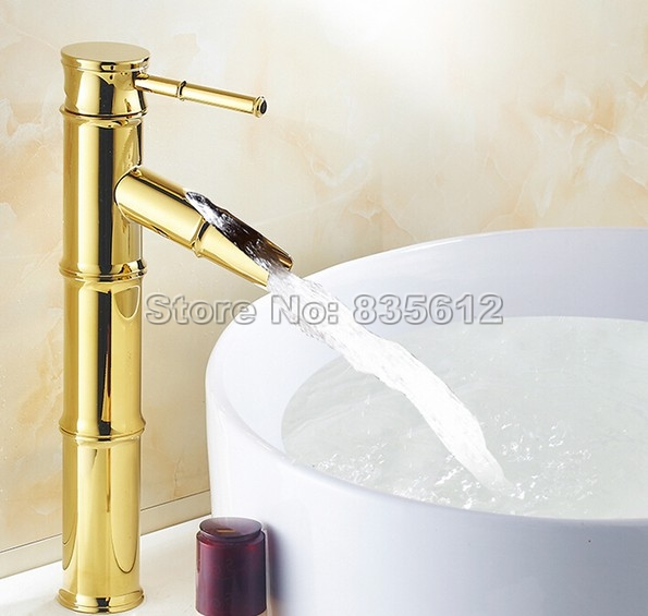 NEW Luxury Golden Brass Single Handle Bathroom Faucet Deck Mounted Wash Basin Mixer Vessel Sink Tap j037 donyummyjo luxury bathroom basin faucet brass golden polish swan shape single handle hot