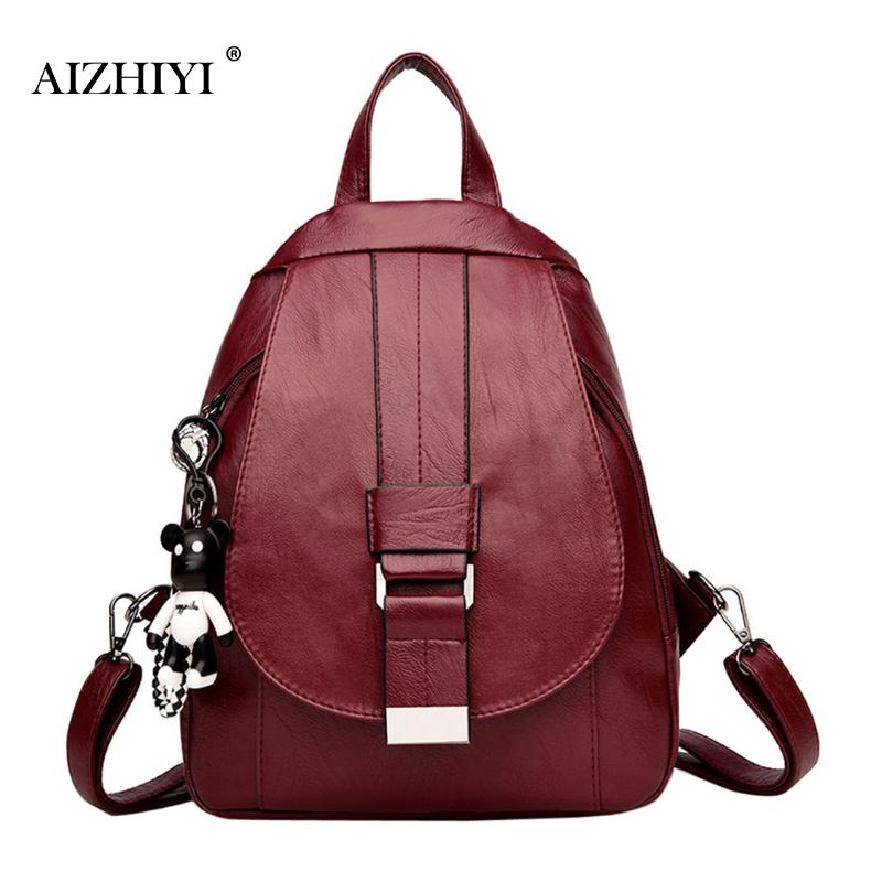 Women Pu Leather Backpacks Female Pure Zipper Backpacks Casual Shoulder Bags Teenage Girls Portable Travel School Bag With Bear