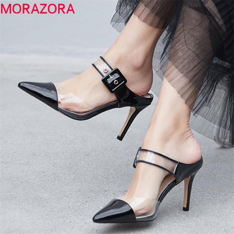 MORAZORA 2019 newest women sandals patent leather pvc thin high heels shoes buckle unique summer shoes