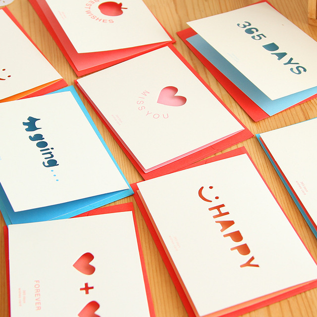 10pcs/lot Fashion Korea Creative Paper Handmade Birthday Greeting ...