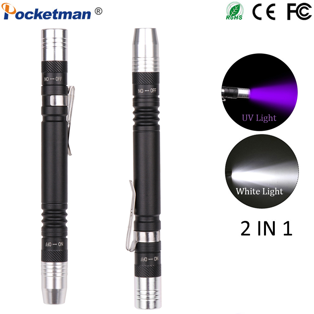 Mini Pen UV Flashlight 2 in 1 Multifunctional 395nm Ultra Violet Torch White Purple Pen Light Detector Torch for Test