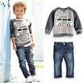 children set boys suit autumn outfit Americal Bus style cartoon long sleeve t-shirt + jeans boys clothes retail YAZ090