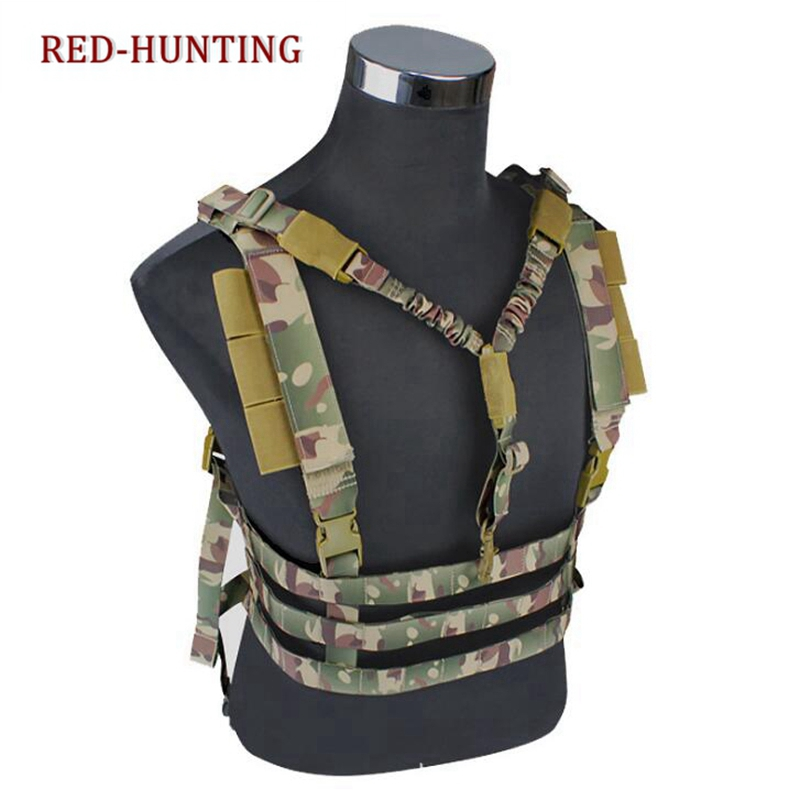 Tactical Lightweight Hunting Webbing Molle Chest Waist Rig Strap Harness Vest Tactics Bellyband Belt For Suspenders