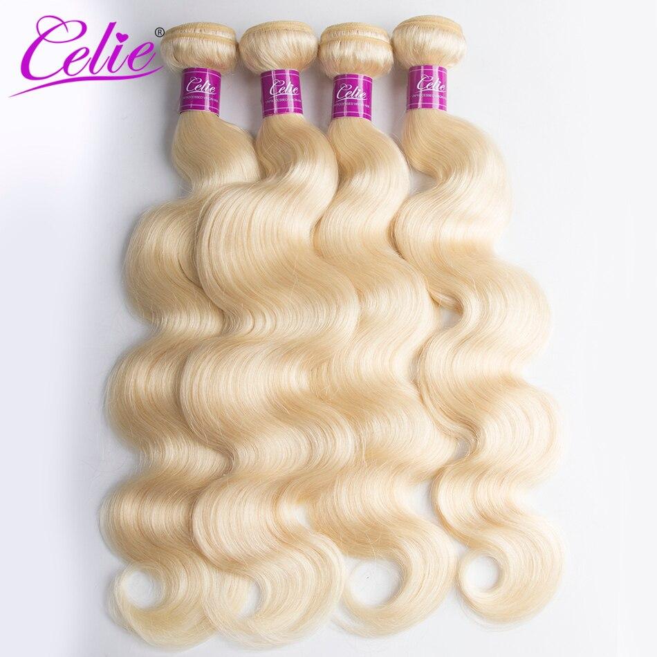 Celie Hair 613 Blond Brazilian Body Wave Bundles 4 pcs Lot 100 Blond Human Hair Weave